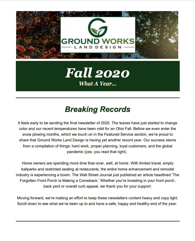 Ground Works Fall 2020 Newsletter