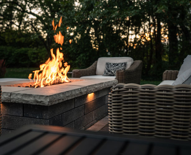 Relaxing outdoor fire pit and patio in Rocky River, Ohio