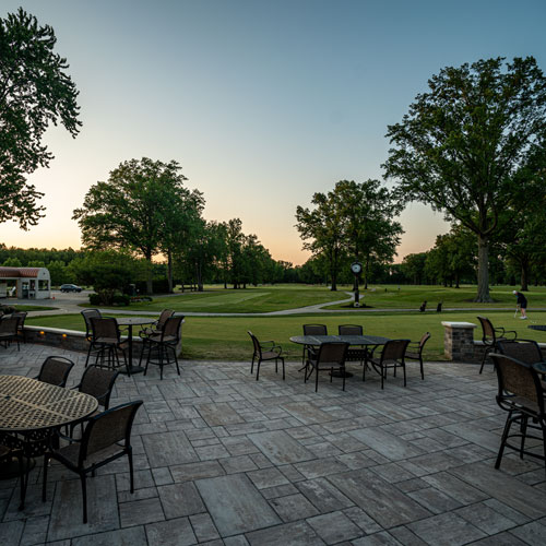 Beautiful Avon Oaks Country Club patio overlooking a golf course